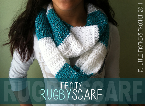 Free Crochet Team Scarf Patterns : Free Crochet Pattern: Rugby Infinity Scarf (Striped ...