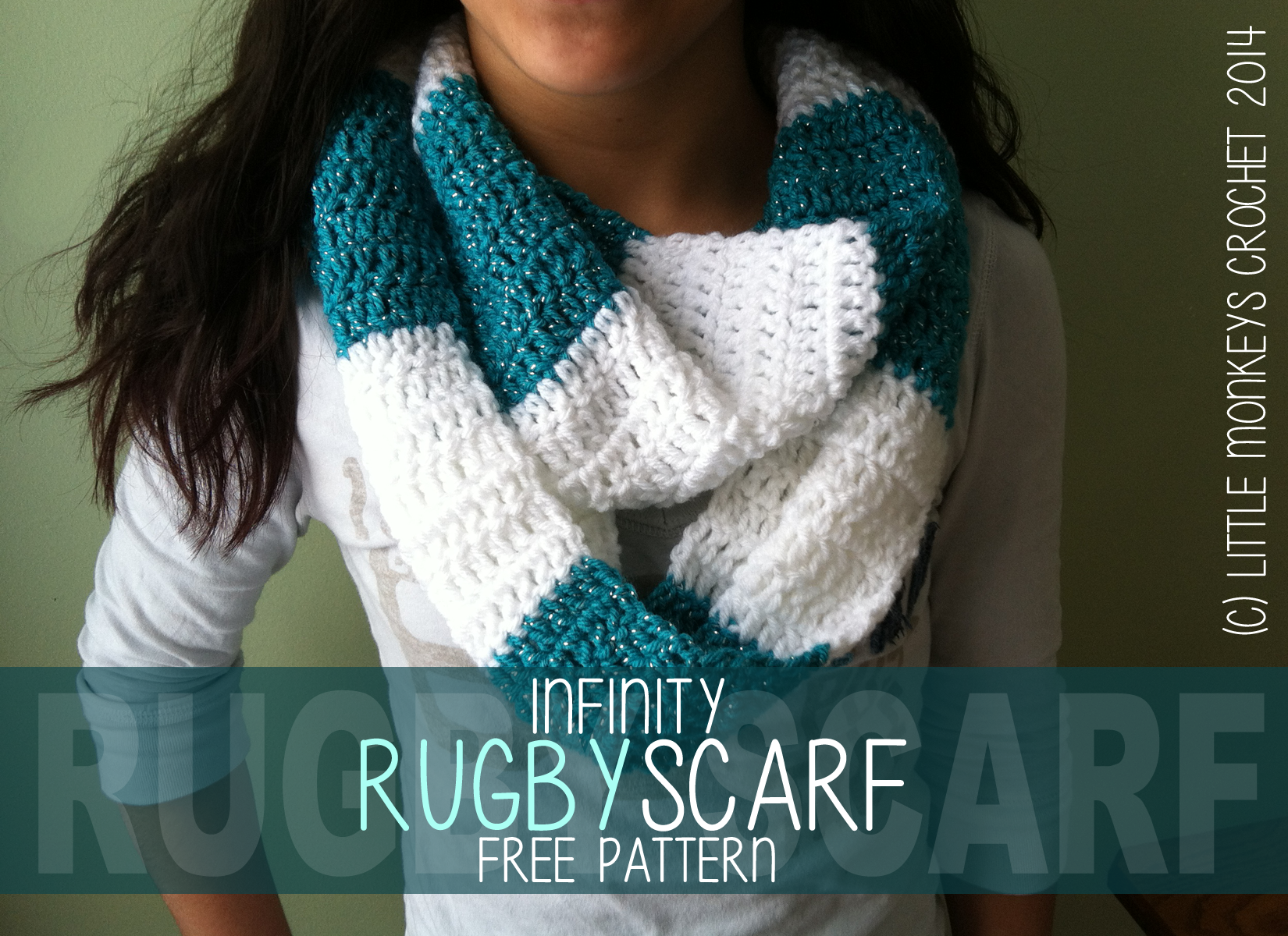 Free Crochet Pattern Striped Scarf : Free Crochet Pattern: Rugby Infinity Scarf (Striped ...