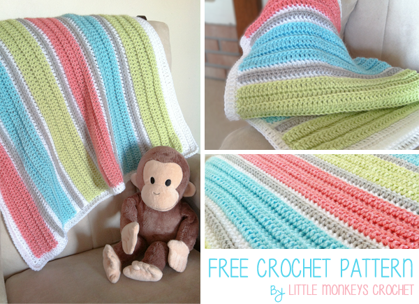 My First Baby Blanket Free Crochet Pattern Little Monkeys Crochet