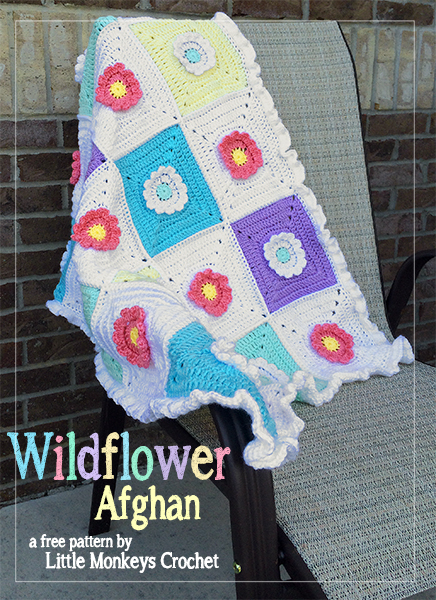 Wildflower Granny Square Afghan | Little Monkeys crochet
