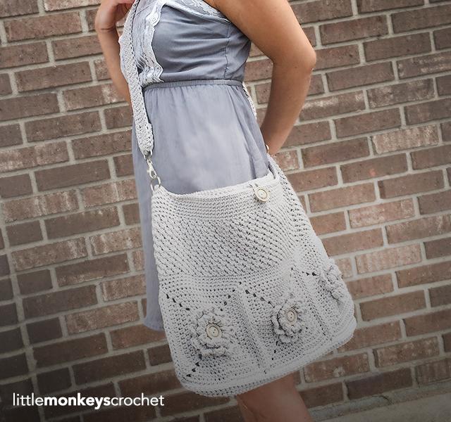 Wildflower Shoulder Bag CAL     Free Crochet Purse Pattern by Little Monkeys Crochet