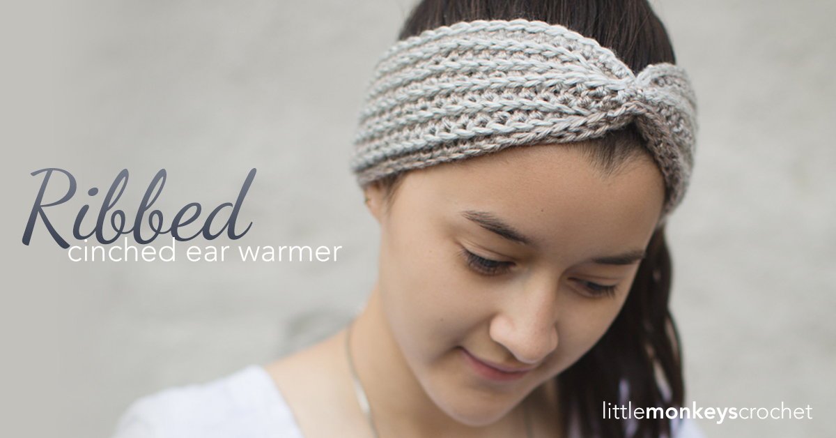 Ribbed Cinched Ear Warmer Pattern Little Monkeys Crochet Beauteous Crochet Ear Warmer Pattern