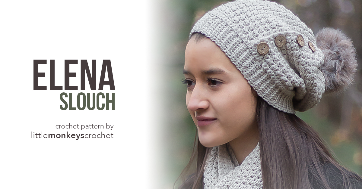 Elena Slouch Hat Crochet Pattern  |  Free button slouchy hat crochet pattern by Little Monkeys Crochet